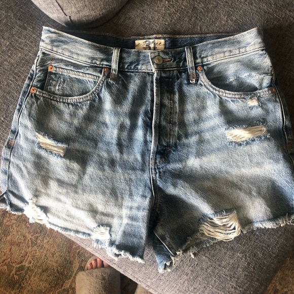 Free people distressed jean shorts